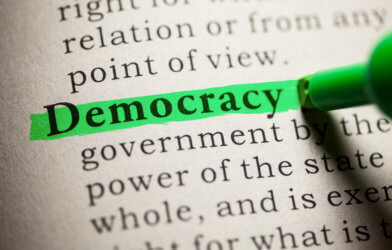 Democracy highlighted in dictionary