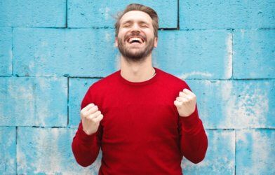 Happy, excited man with beard