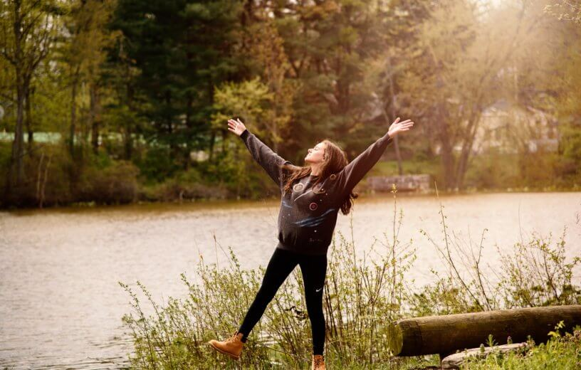 Woman happy in nature