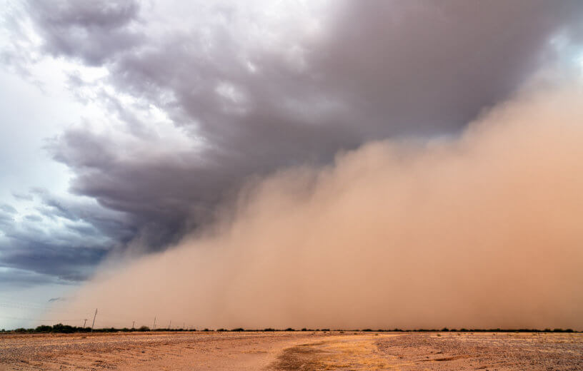 Haboob dust storm in desert