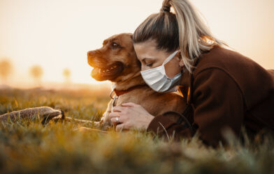 Coronavirus social distancing with dog