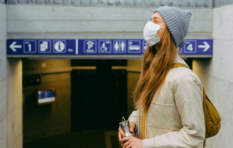 Woman wearing face mask during coronavirus pandemic