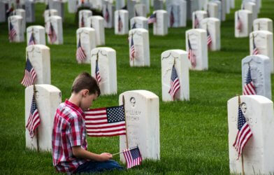 Boy at Veterans Cemetery on Memorial Day