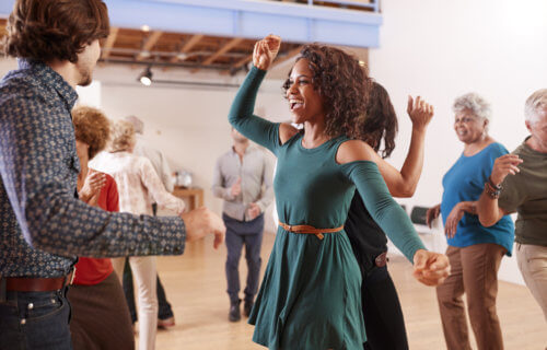 People dancing together, dance class