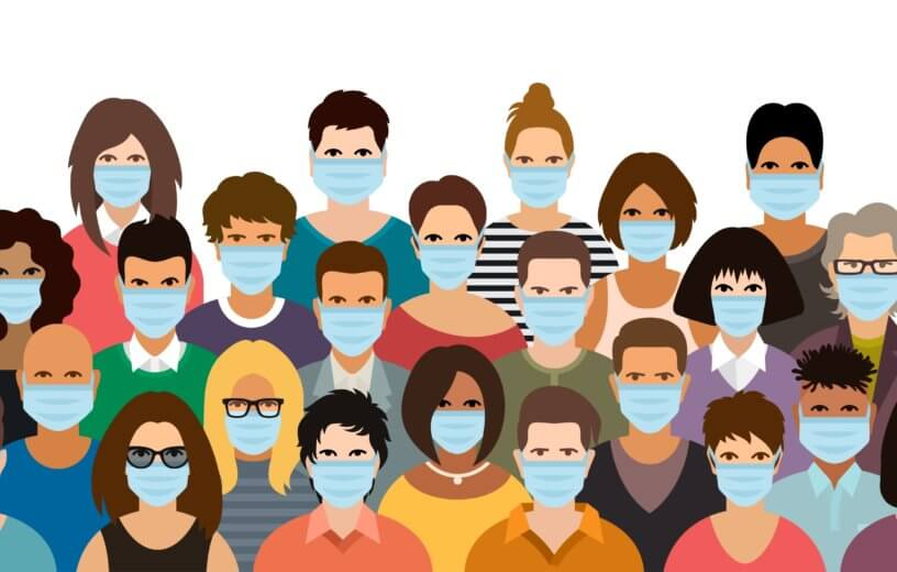Image of people wearing face masks during coronavirus / COVID-19 outbreak