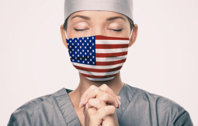 Nurse wearing American flag mask during coronavirus / COVID-19 pandemic