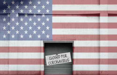"American flag storefront that says ""Closed for Coronavirus"""