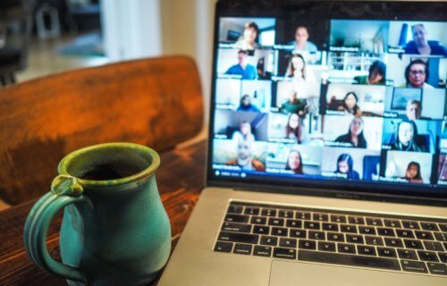 Zoom video chat or meeting, virtual party