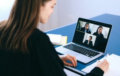Video meeting or Zoom call between co-workers