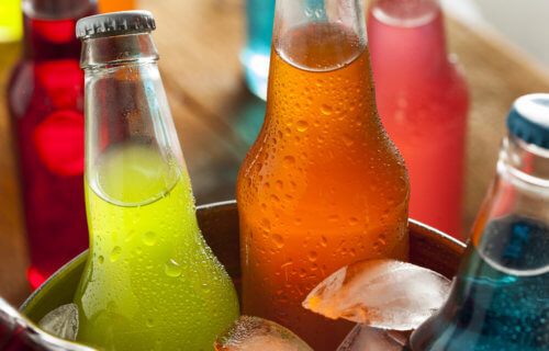 Wine coolers or flavored alcohol drinks on ice