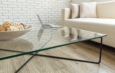 Glass table in office or living room