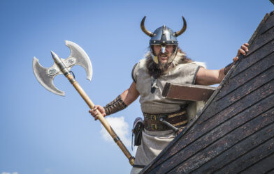 Viking on a ship