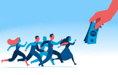 People running for money, competitive wages
