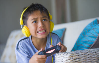 Child playing online video game