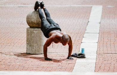 Man exercising, doing pushups