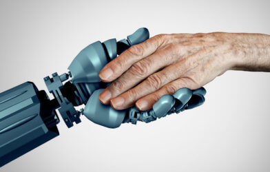 Robot holding hands with senior or elderly adult