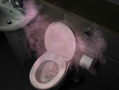 Toilet flush spray, germ and virus spread by droplets