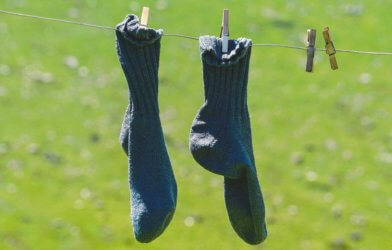 Socks on clothesline