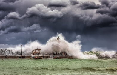 Severe storm with strong waves, flooding