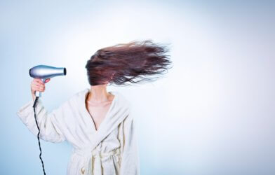 woman hair drying