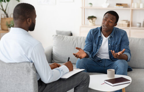 Therapist with patient, cognitive behavioral therapy