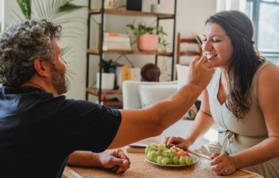 Couple sharing healthy food