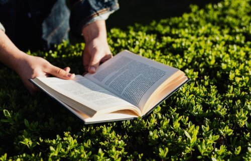 reading book outdoors