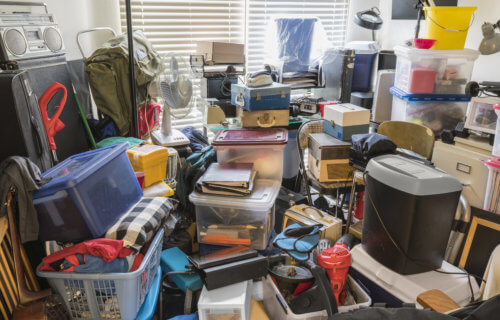 Messy room, hoarder's collection of junk