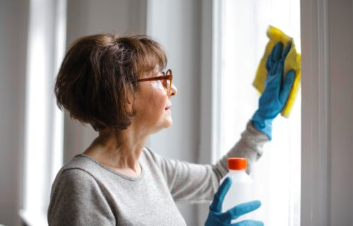 old person cleaning chores