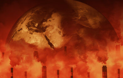 Earth attacked by greenhouse effect air pollution, climate change