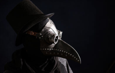 Depiction of plague doctor during bubonic plague era
