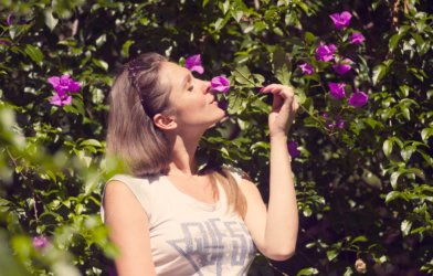 woman smell flower