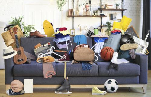 Messy house: Couch filled with junk