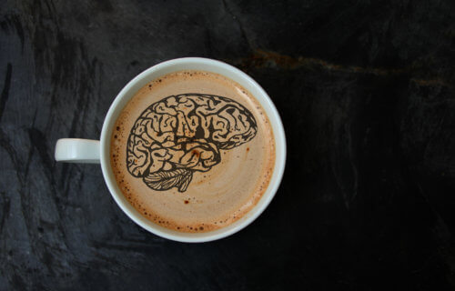 Coffee cup with brain