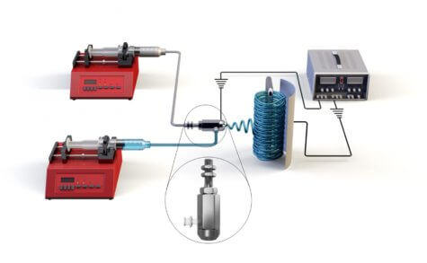 Schematic of co-axial electrospinning device.