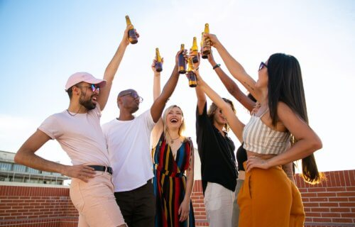 young adults drinking