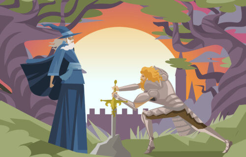 King Arthur and Merlin the Magician with Excalibur