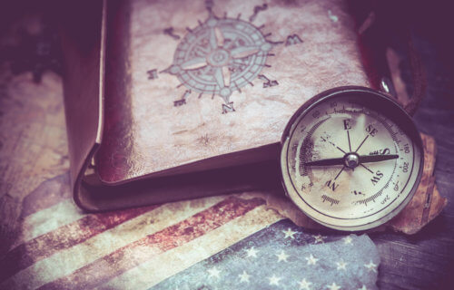 Columbus Day: Map of America with compass