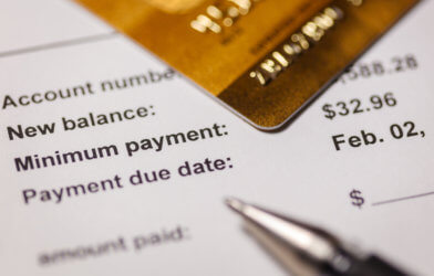 Credit card bill showing minimum payment