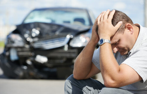 Man upset after getting into car accident